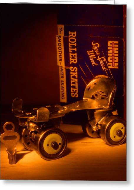 Old Skates Photographs Greeting Cards - Vintage Roller Skates Greeting Card by Jerry Taliaferro
