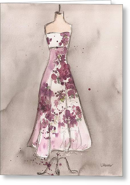 Plumb Greeting Cards - Vintage Romance Dress Greeting Card by Lauren Maurer