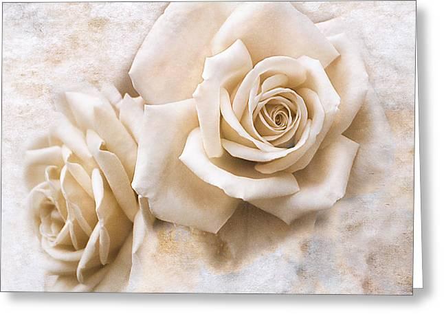 Vintage Rose Iv Square Greeting Card by Jai Johnson