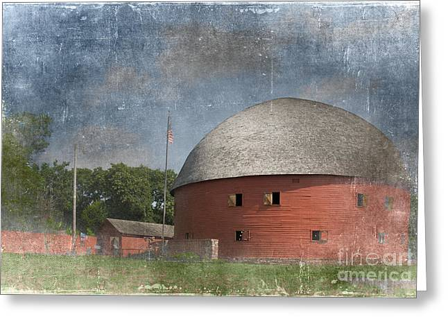 Historical Buildings Digital Art Greeting Cards - Vintage Round Barn Greeting Card by Betty LaRue