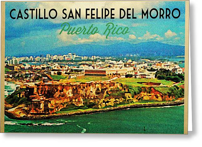Castillo San Felipe Greeting Cards - Vintage San Juan Puerto Rico Greeting Card by Flo Karp