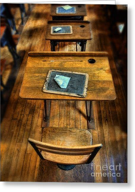 Vintage School Desks Greeting Card by Jill Battaglia