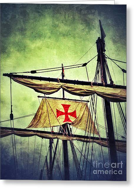 Maltese Greeting Cards - Vintage Ship Masts and Rigging Greeting Card by Jill Battaglia