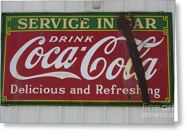 Fun Signs Greeting Cards - Vintage Sign Coca Cola Greeting Card by Bob Christopher