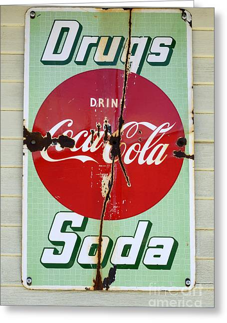 Fun Signs Greeting Cards - Vintage Sign Drugs and Soda Greeting Card by Bob Christopher