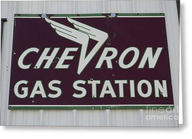 Fun Signs Greeting Cards - Vintage Sign For Chevron Gas Stations Greeting Card by Bob Christopher