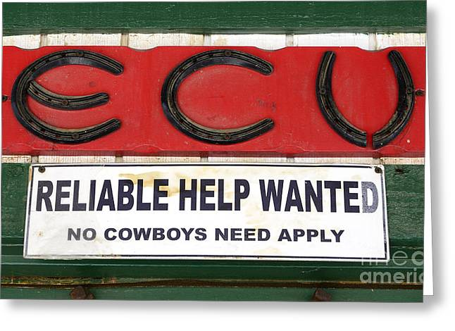 Fun Signs Greeting Cards - Vintage Sign For Cowboys Greeting Card by Bob Christopher