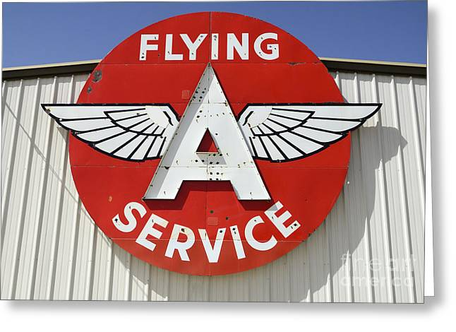 Fun Signs Greeting Cards - Vintage Sign For Flying A Service Greeting Card by Bob Christopher