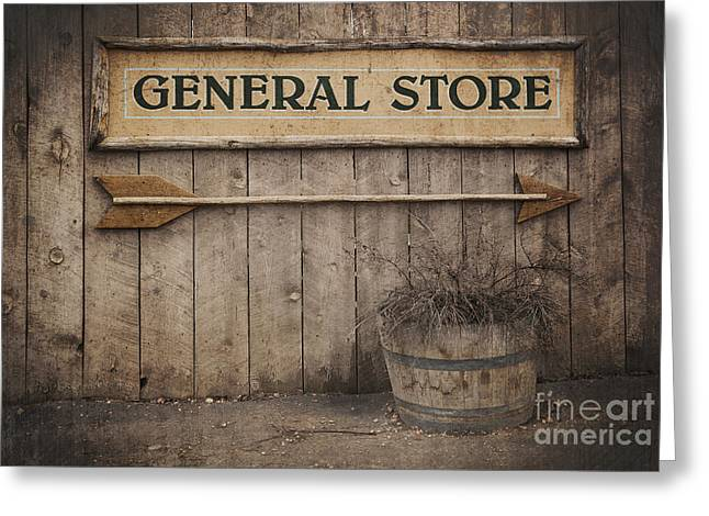 Rustic Photographs Greeting Cards - Vintage sign General Store Greeting Card by Jane Rix