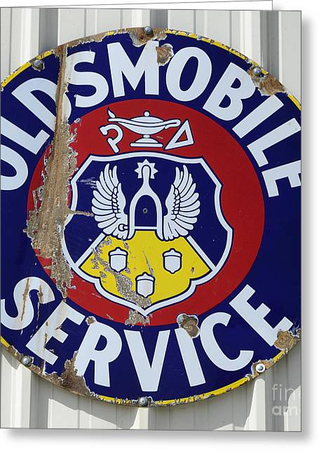 Fun Signs Greeting Cards - Vintage Sign Oldsmobile Service Greeting Card by Bob Christopher