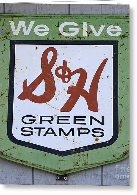 Fun Signs Greeting Cards - Vintage Sign We Give Green Stamps Greeting Card by Bob Christopher