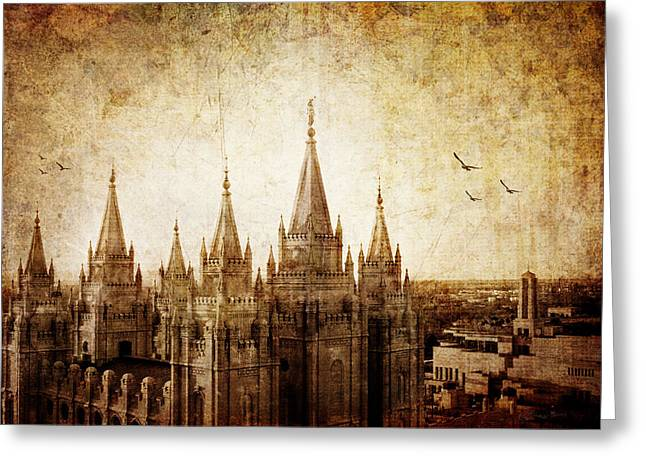 Slc Greeting Cards - Vintage SLC Temple Greeting Card by La Rae  Roberts
