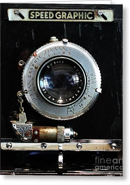 Speed Camera Greeting Cards - Vintage Speed Graphic Camera . 7D13214 Greeting Card by Wingsdomain Art and Photography