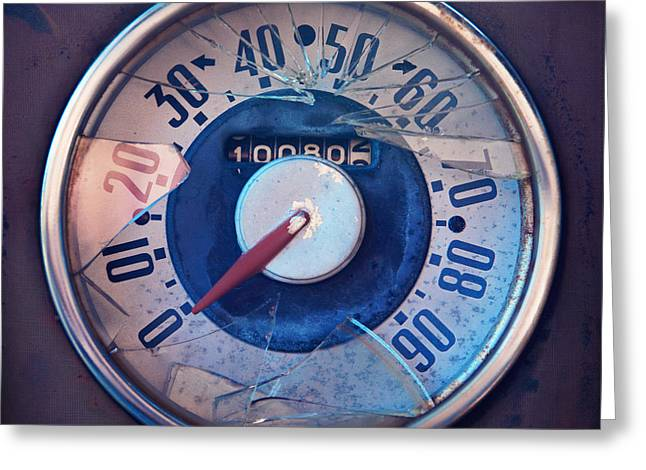 Stylish Car Greeting Cards - Vintage speed indicator  Greeting Card by Priska Wettstein