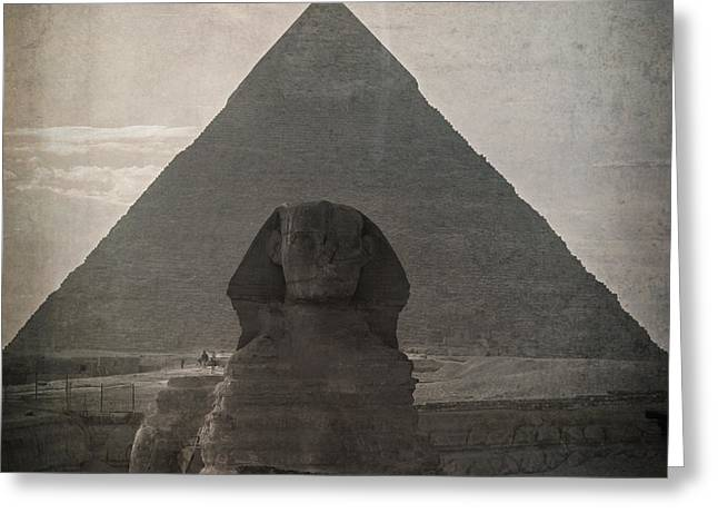Pharaoh Photographs Greeting Cards - Vintage Sphinx Greeting Card by Jane Rix