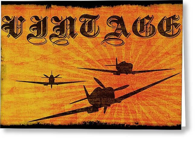 Aeronautics Greeting Cards - Vintage Spitfire Greeting Card by Ricky Barnard