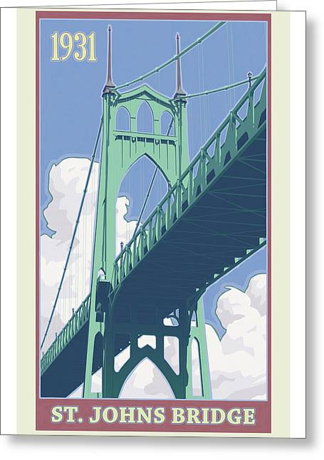 Vintage Travel Greeting Cards - Vintage St. Johns Bridge Travel Poster Greeting Card by Mitch Frey