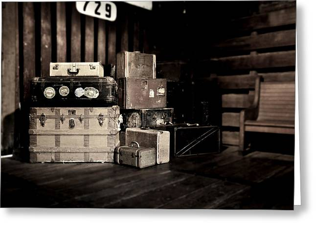 Vintage Trunk Greeting Cards - Vintage Steamer Trunks at Railroad Station Greeting Card by Rebecca Brittain
