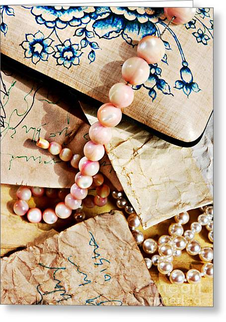 Beaded Jewelry Greeting Cards - Vintage Still Life Greeting Card by HD Connelly