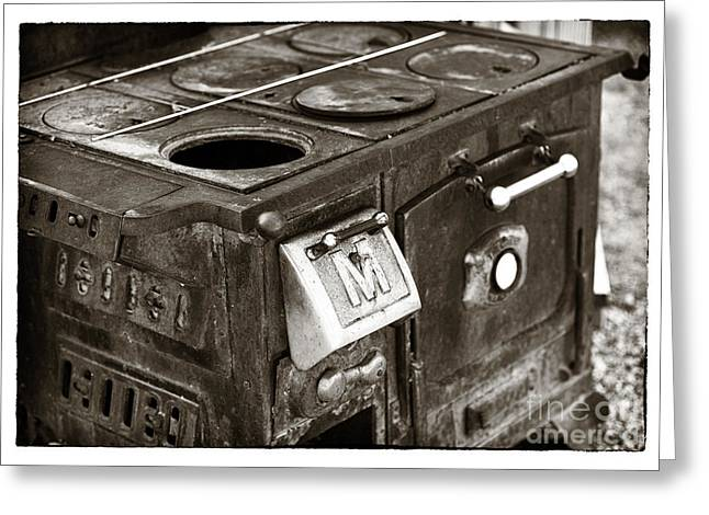 Contemporary Western Fine Art Greeting Cards - Vintage Stove Greeting Card by John Rizzuto