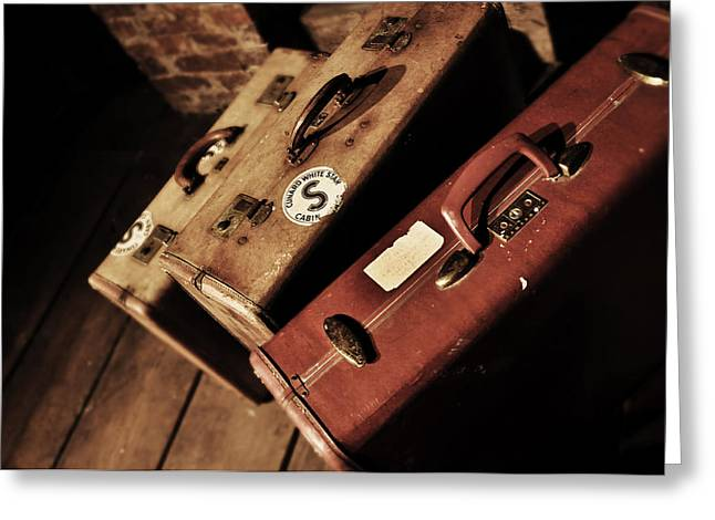 Vintage Trunk Greeting Cards - Vintage Suitcase Print Greeting Card by Rebecca Brittain