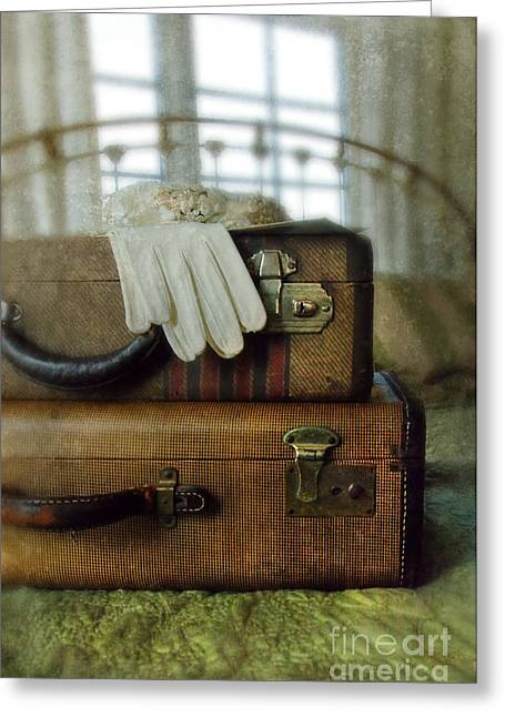 Vintage Suitcases On Brass Bed Greeting Card by Jill Battaglia