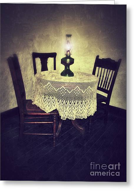 Oil Lamp Greeting Cards - Vintage Table and Chairs by Oil Lamp Light Greeting Card by Jill Battaglia