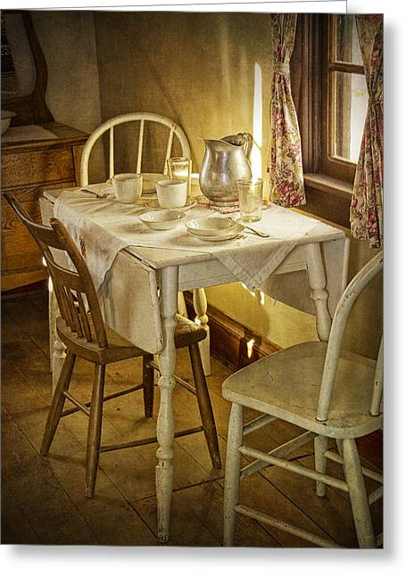 Table Cloth Greeting Cards - Vintage Table Setting Circa Rural 1880 No.3110 Greeting Card by Randall Nyhof