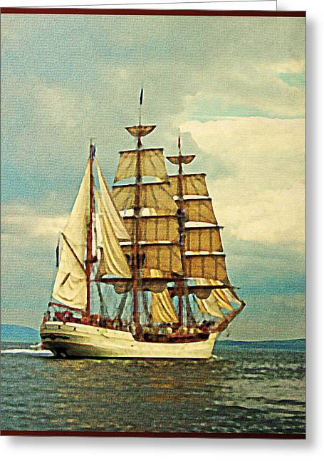 Schooner Greeting Cards - Vintage Tall Ship Greeting Card by Flo Karp
