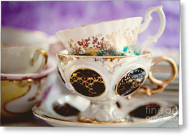 Vintage Teacup Greeting Cards - Vintage Teacups Greeting Card by Kim Fearheiley