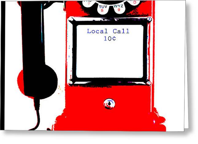Vintage Telephone Pop Art Greeting Card by Anahi DeCanio