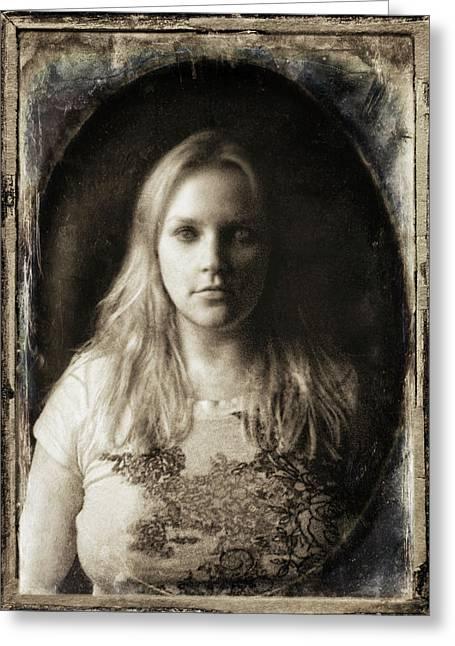 Self-portrait Photographs Greeting Cards - Vintage Tintype IR Self-Portrait Greeting Card by Amber Flowers