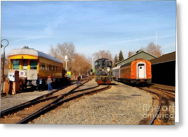 Tanker Train Greeting Cards - Vintage Trains At The Old Sacramento Train Depot . 7D11513 Greeting Card by Wingsdomain Art and Photography