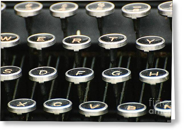 Typewriter Greeting Cards - Vintage Typewriter Greeting Card by AdSpice Studios