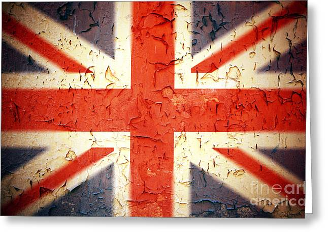 Aged Greeting Cards - Vintage Union Jack Greeting Card by Jane Rix