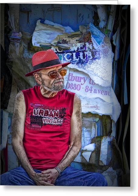 Sleeveless Greeting Cards - Vintage Urban Man Greeting Card by Randall Nyhof