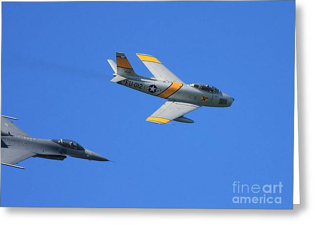 Carrier Greeting Cards - Vintage US Air Force Jet Fighter In Flight . 40D2275 Greeting Card by Wingsdomain Art and Photography