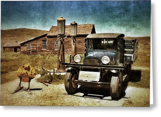 Vintage Vehicle at Vintage Gas Pumps Greeting Card by Jill Battaglia