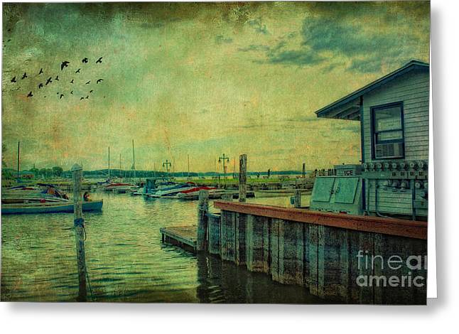 Oceanview Greeting Cards - Vintage Vermont Harbor Greeting Card by Gina Cormier