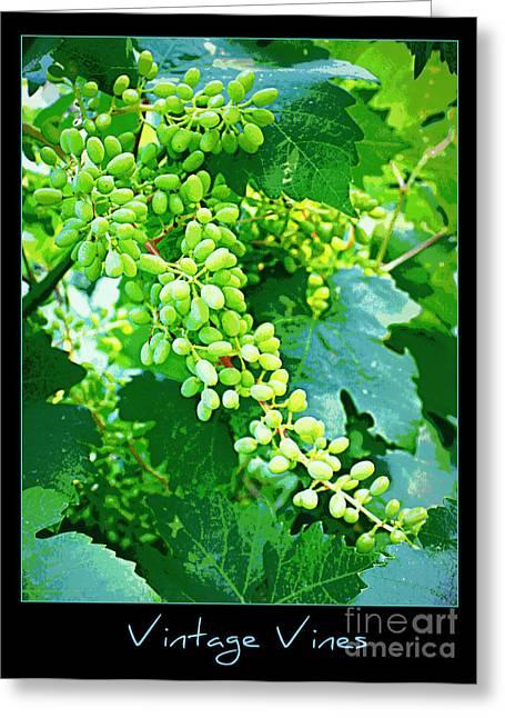 Grape Leaves Digital Art Greeting Cards - Vintage Vines  Greeting Card by Carol Groenen