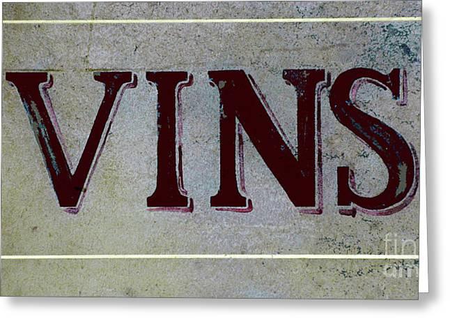 Vinos Mixed Media Greeting Cards - Vintage Vins Greeting Card by AdSpice Studios