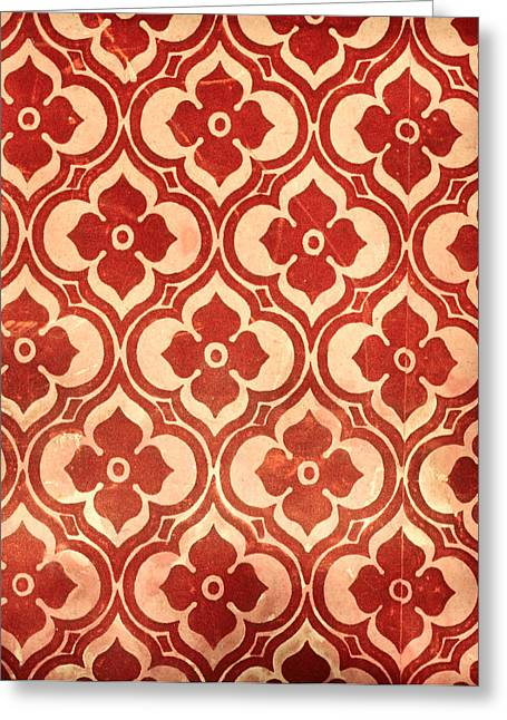 Abstract Style Greeting Cards - Vintage wallpaper Greeting Card by Tom Gowanlock