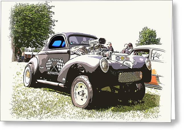 1949 Plymouth Greeting Cards - Vintage Willys Gasser Greeting Card by Steve McKinzie