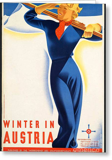 Skiing Posters Digital Art Greeting Cards - Vintage Winter in Austria Travel Poster Greeting Card by George Pedro