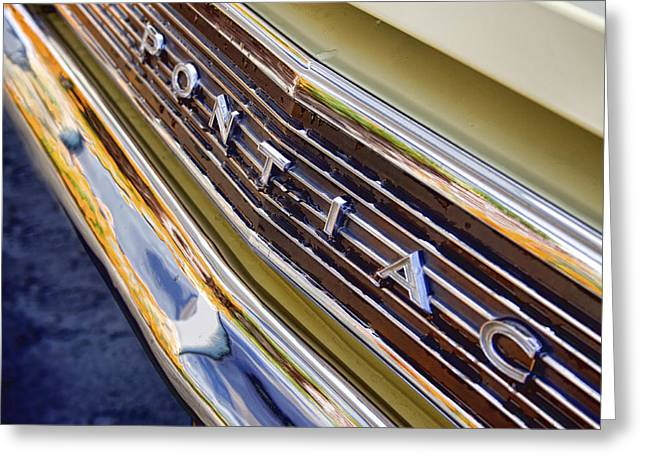 Chrome Greeting Cards - Vintage Yellow Pontiac Greeting Card by Carol Leigh