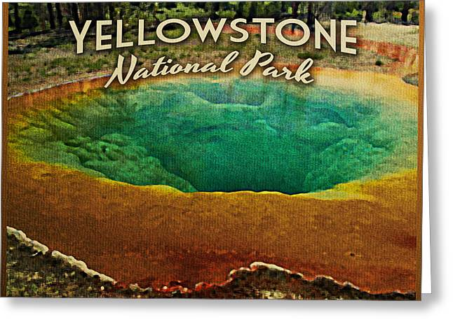 Vintage Yellowstone National Park Greeting Card by Flo Karp