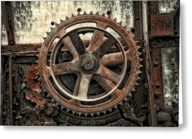 Rusty Gears Greeting Cards - Vintage.9265A Greeting Card by Gary LaComa