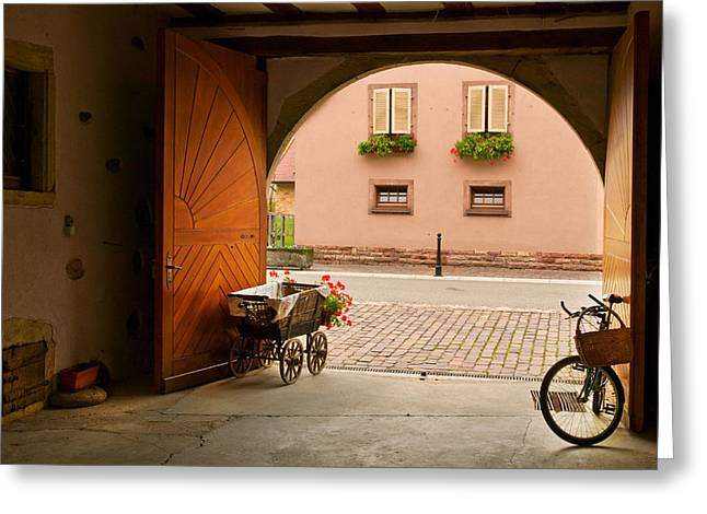 Alsace Greeting Cards - Vinters Gate Greeting Card by John Galbo