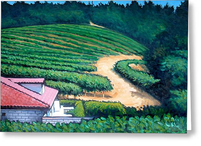 Santa Cruz Paintings Greeting Cards - Vinyard on the Hill Greeting Card by Erik Schutzman