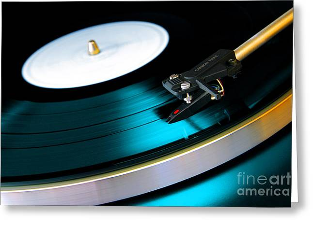 Player Greeting Cards - Vinyl Record Greeting Card by Carlos Caetano